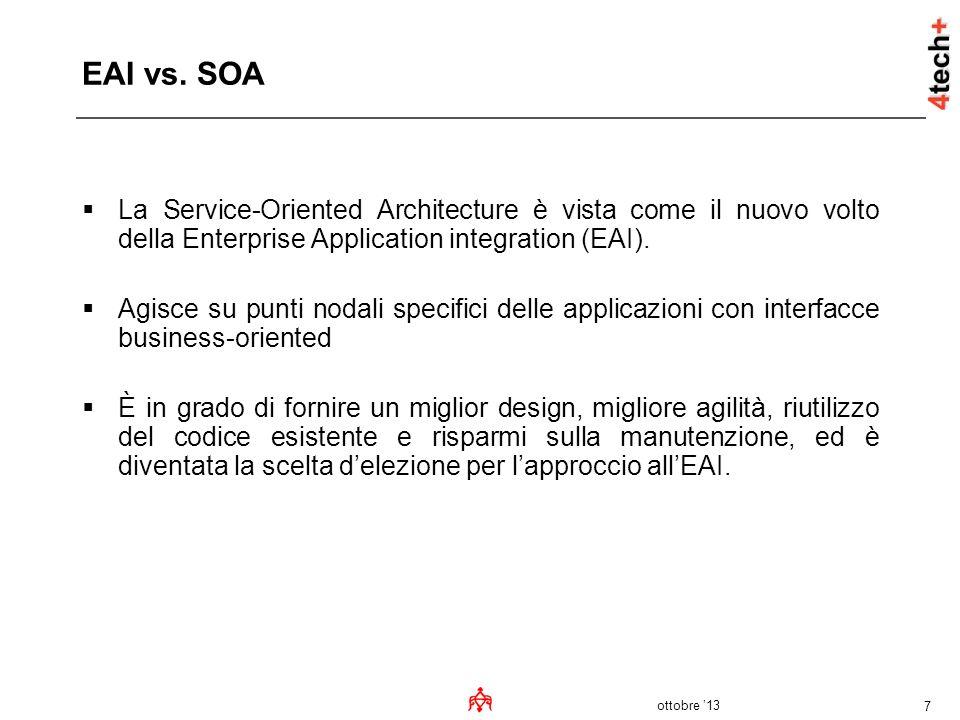 EAI vs. SOA La Service-Oriented Architecture è vista come il nuovo volto della Enterprise Application integration (EAI).
