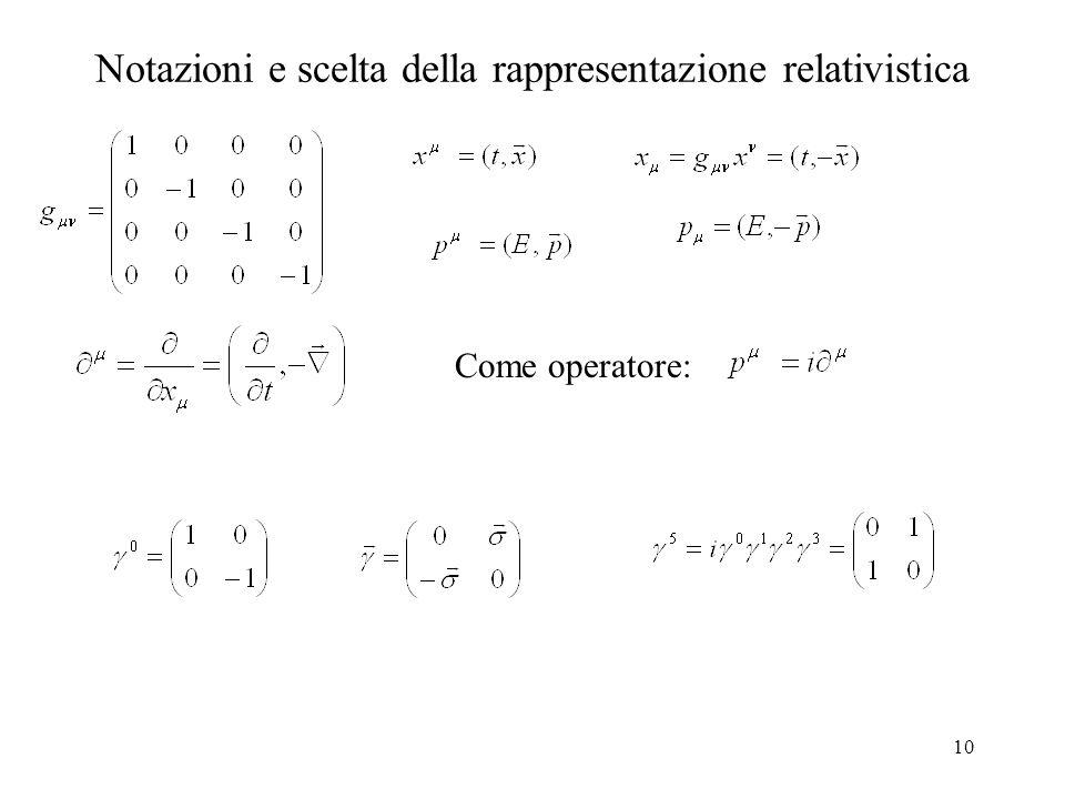 Notazioni e scelta della rappresentazione relativistica