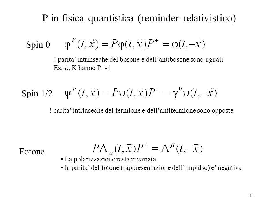 P in fisica quantistica (reminder relativistico)