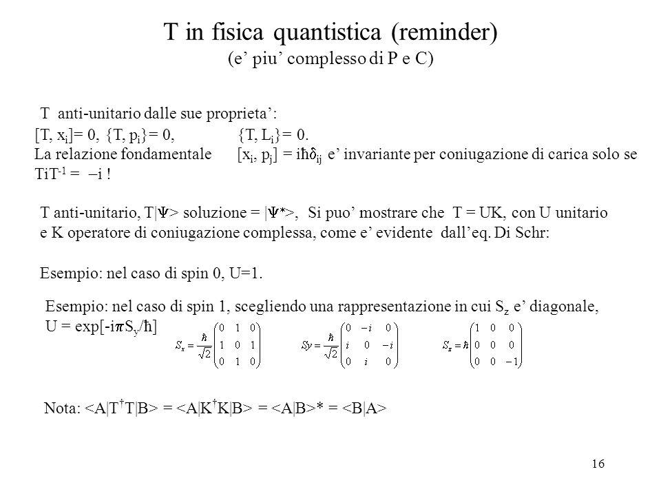 T in fisica quantistica (reminder) (e' piu' complesso di P e C)