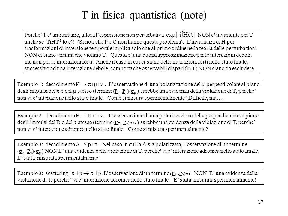 T in fisica quantistica (note)
