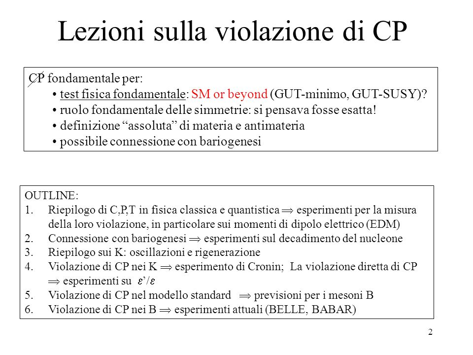 Lezioni sulla violazione di CP