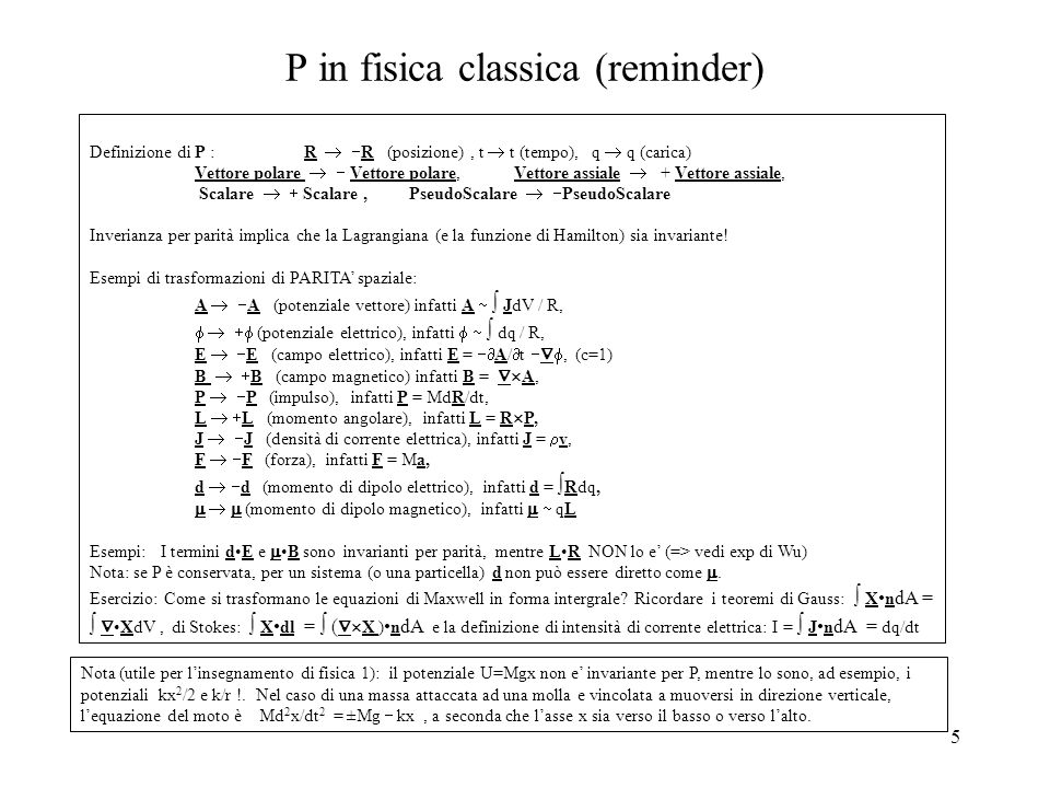 P in fisica classica (reminder)