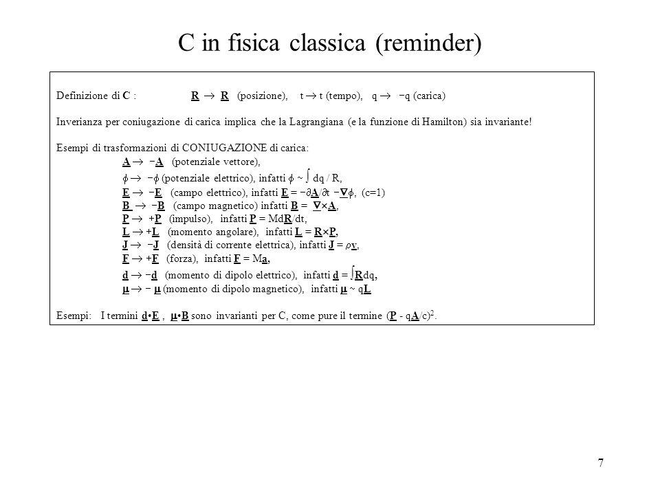 C in fisica classica (reminder)