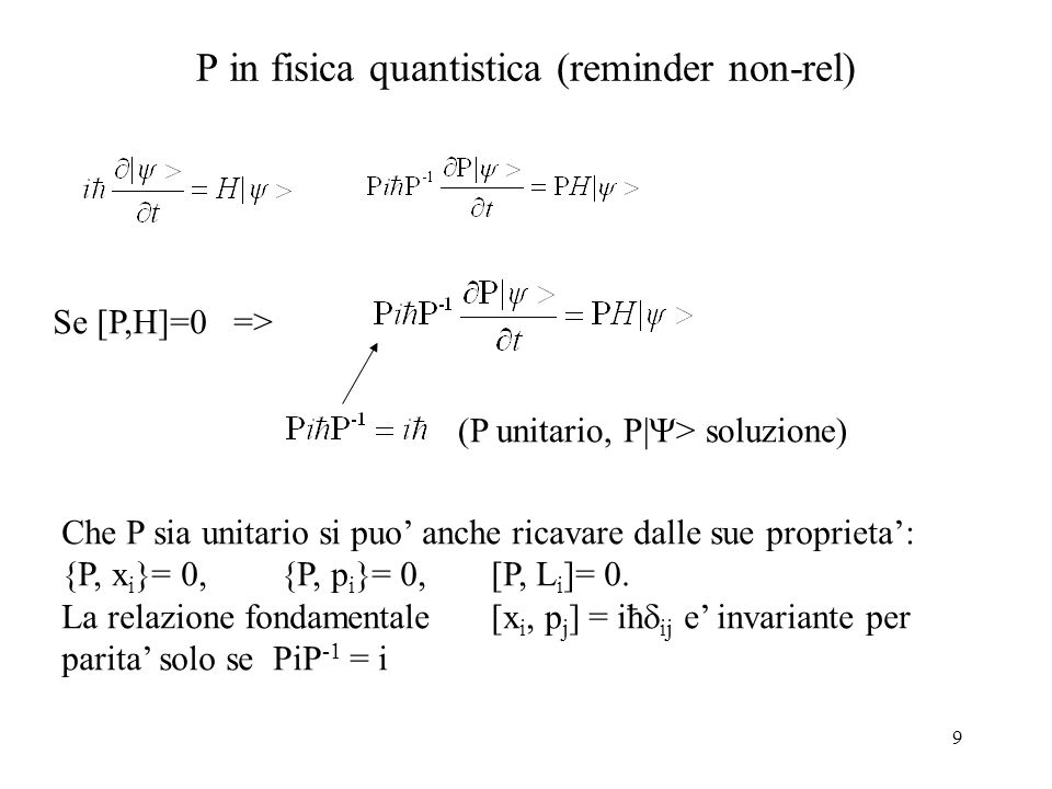 P in fisica quantistica (reminder non-rel)