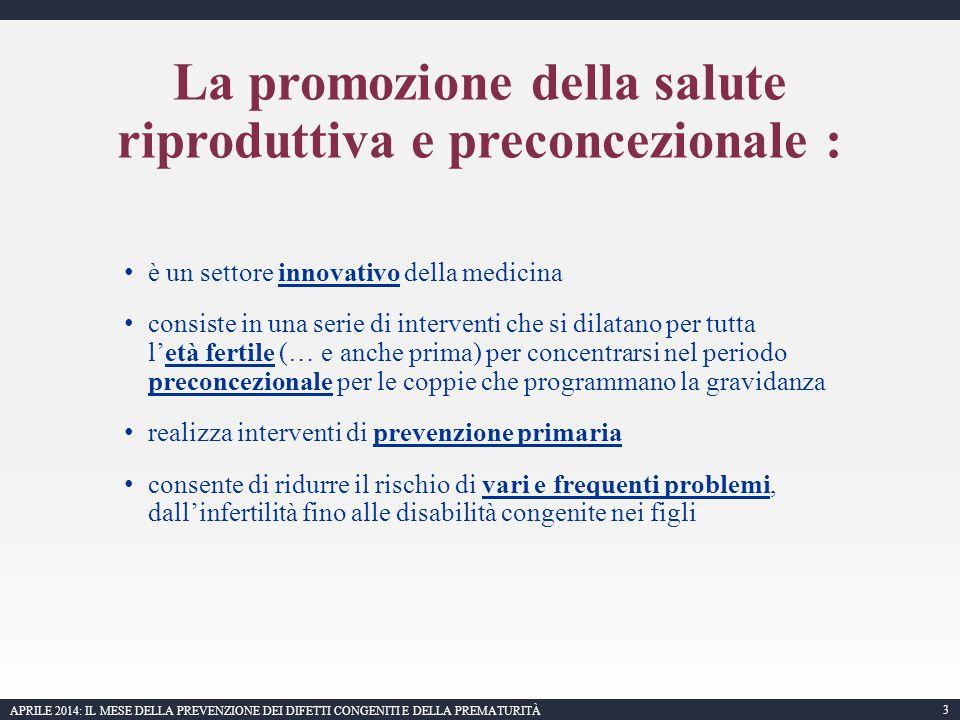 La promozione della salute riproduttiva e preconcezionale :