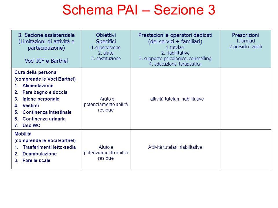 Schema PAI – Sezione 3 3. Sezione assistenziale