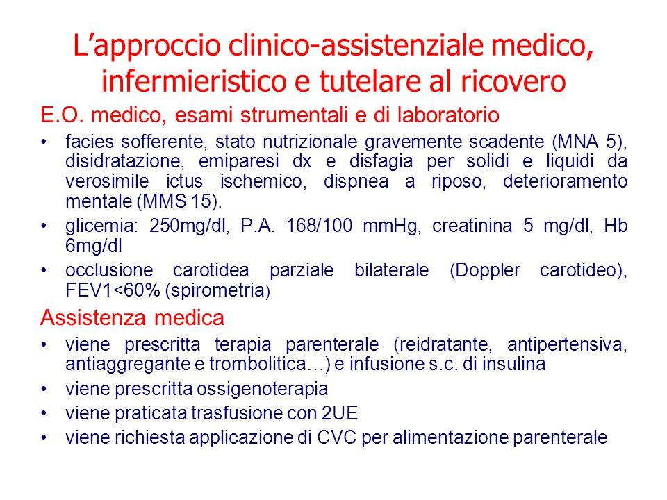 L'approccio clinico-assistenziale medico, infermieristico e tutelare al ricovero