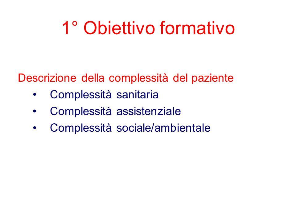 1° Obiettivo formativo Descrizione della complessità del paziente