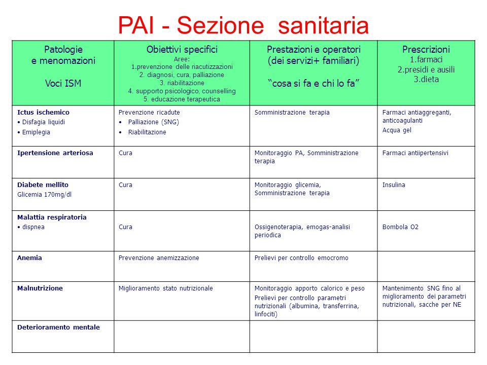 PAI - Sezione sanitaria