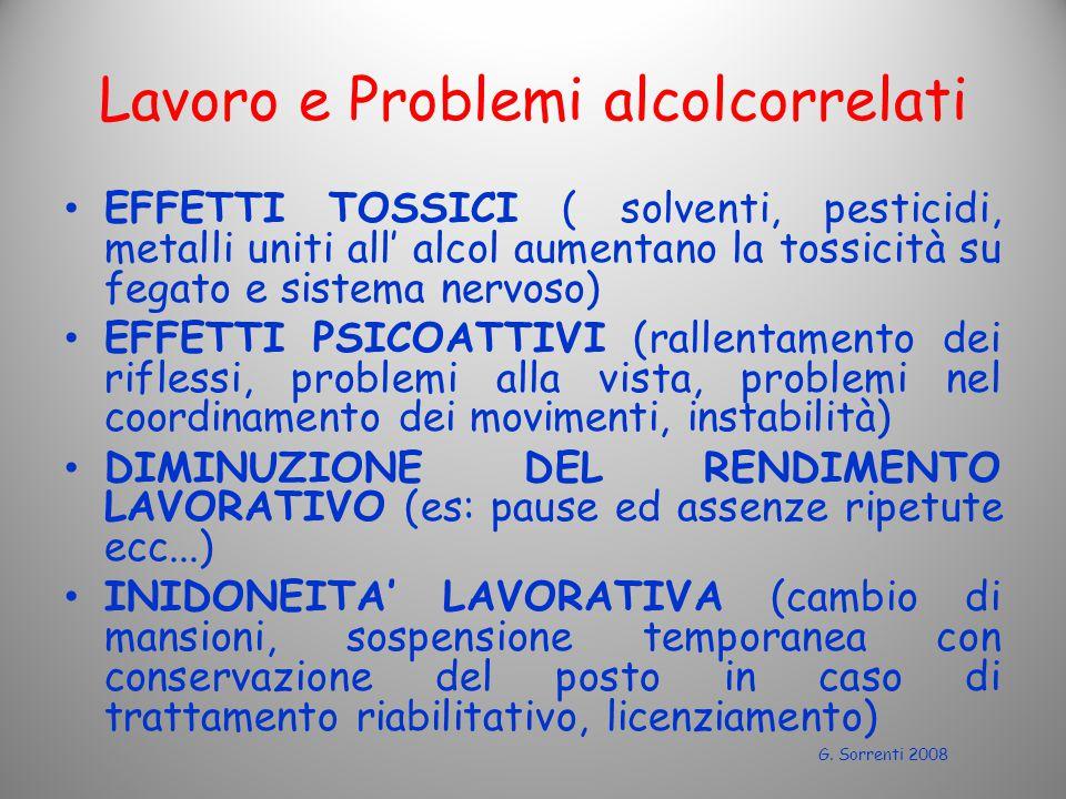 Lavoro e Problemi alcolcorrelati