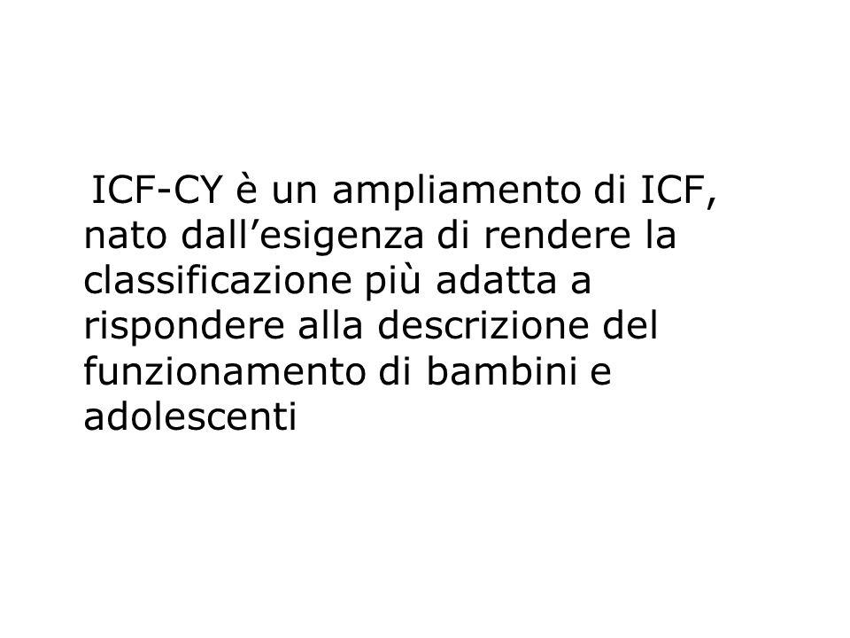 ICF-CY è un ampliamento di ICF, nato dall'esigenza di rendere la classificazione più adatta a rispondere alla descrizione del funzionamento di bambini e adolescenti