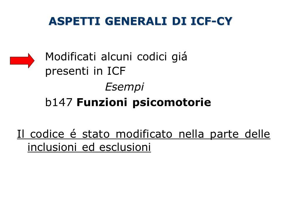 ASPETTI GENERALI DI ICF-CY