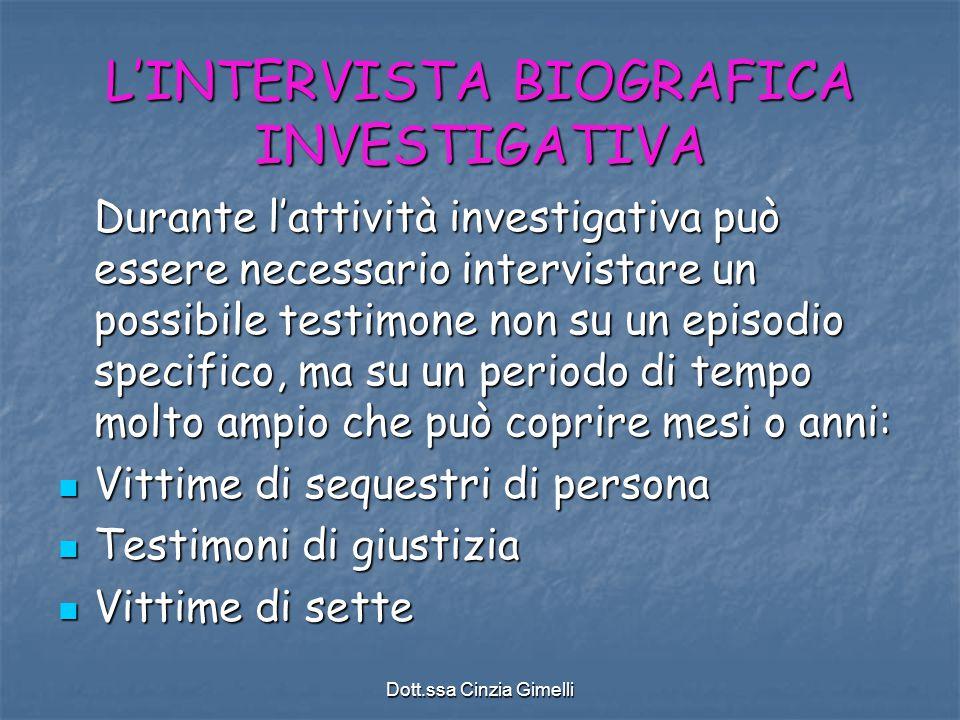 L'INTERVISTA BIOGRAFICA INVESTIGATIVA