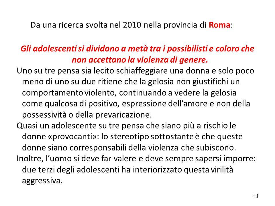 Da una ricerca svolta nel 2010 nella provincia di Roma: Gli adolescenti si dividono a metà tra i possibilisti e coloro che non accettano la violenza di genere.