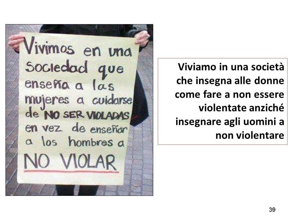 Viviamo in una società che insegna alle donne come fare a non essere violentate anziché insegnare agli uomini a non violentare