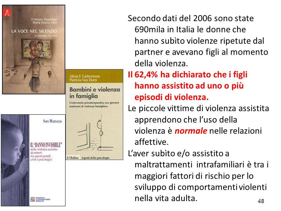 Secondo dati del 2006 sono state 690mila in Italia le donne che hanno subìto violenze ripetute dal partner e avevano figli al momento della violenza.