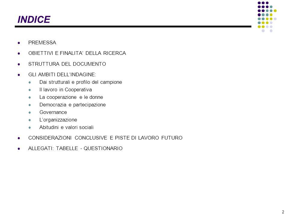 INDICE PREMESSA OBIETTIVI E FINALITA' DELLA RICERCA