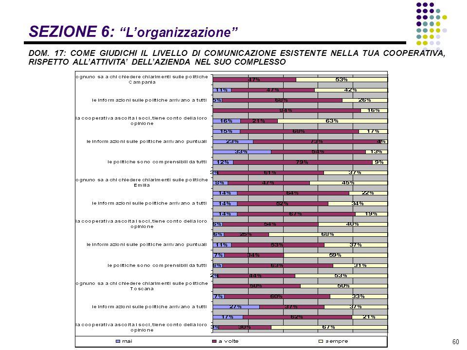 SEZIONE 6: L'organizzazione