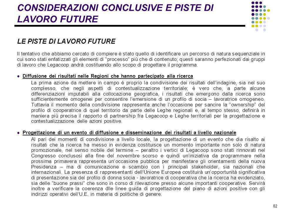 CONSIDERAZIONI CONCLUSIVE E PISTE DI LAVORO FUTURE