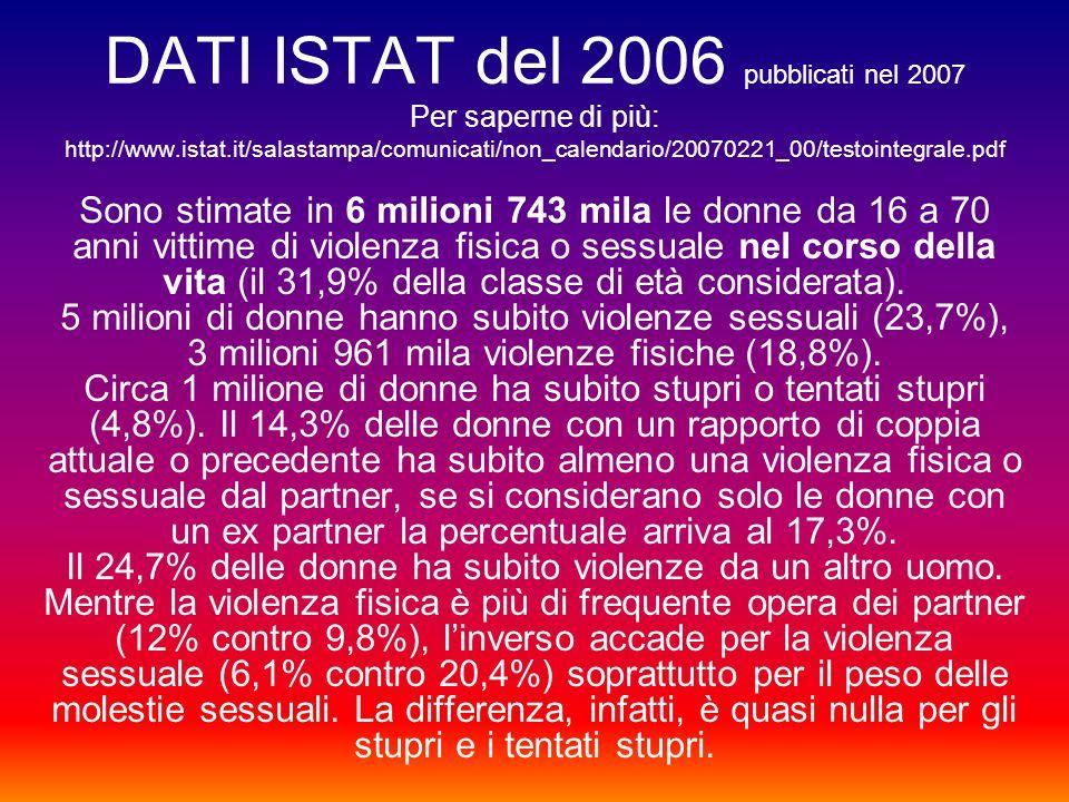 DATI ISTAT del 2006 pubblicati nel 2007 Per saperne di più: http://www