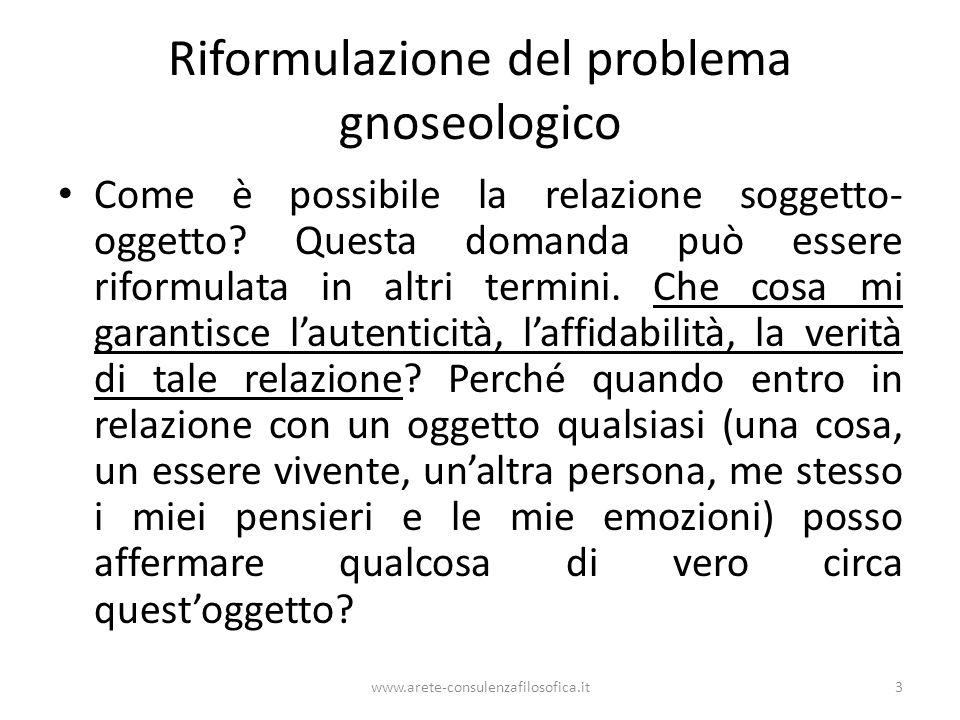 Riformulazione del problema gnoseologico