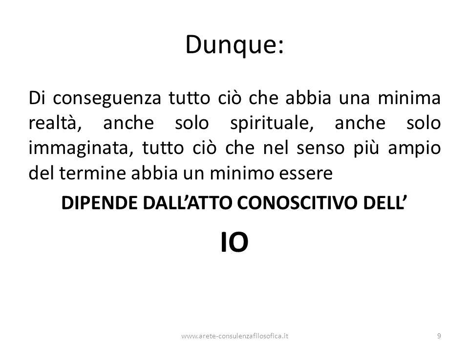 DIPENDE DALL'ATTO CONOSCITIVO DELL'