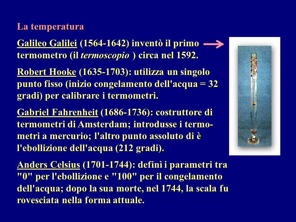 La temperatura Galileo Galilei (1564-1642) inventò il primo termometro (il termoscopio ) circa nel 1592.