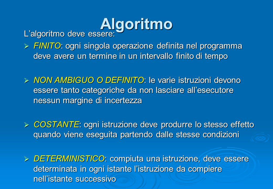 Algoritmo L'algoritmo deve essere: