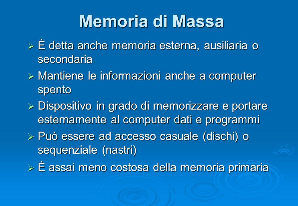 Memoria di Massa È detta anche memoria esterna, ausiliaria o secondaria. Mantiene le informazioni anche a computer spento.