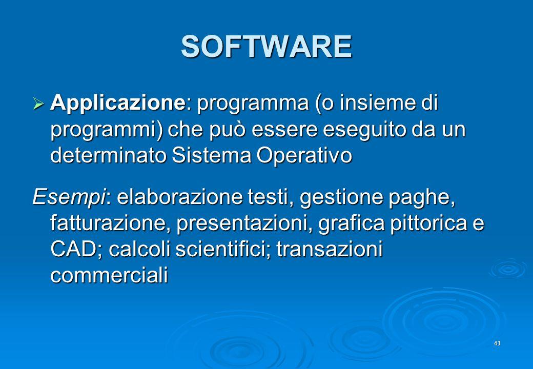 SOFTWARE Applicazione: programma (o insieme di programmi) che può essere eseguito da un determinato Sistema Operativo.