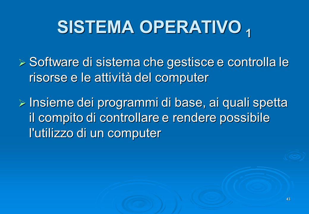 SISTEMA OPERATIVO 1 Software di sistema che gestisce e controlla le risorse e le attività del computer.