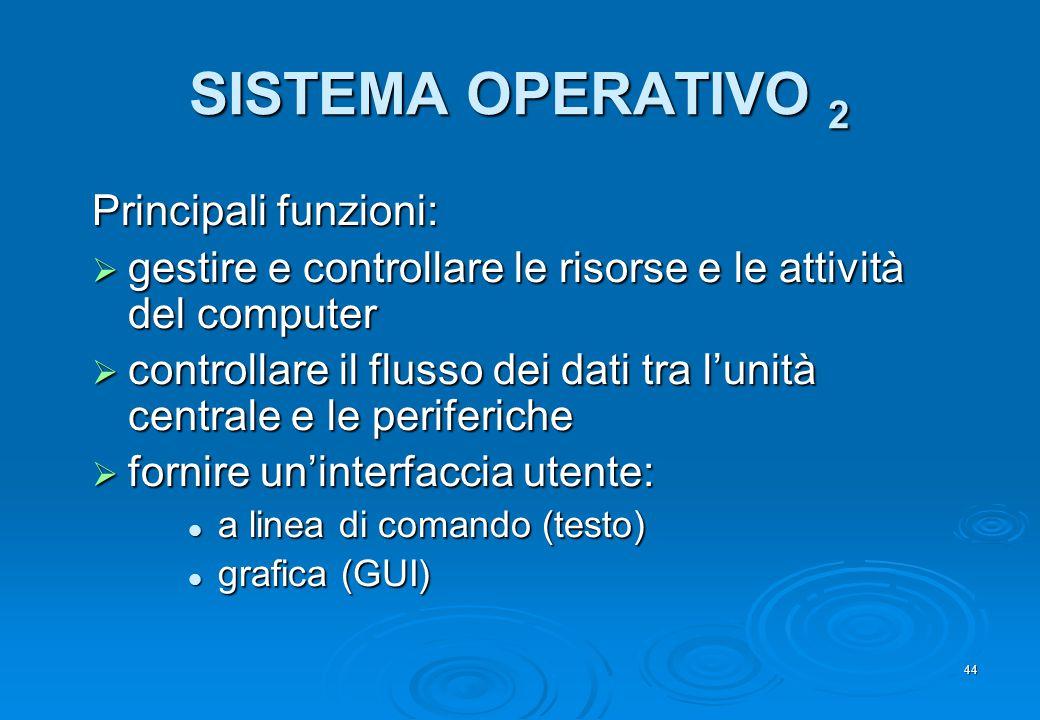 SISTEMA OPERATIVO 2 Principali funzioni: