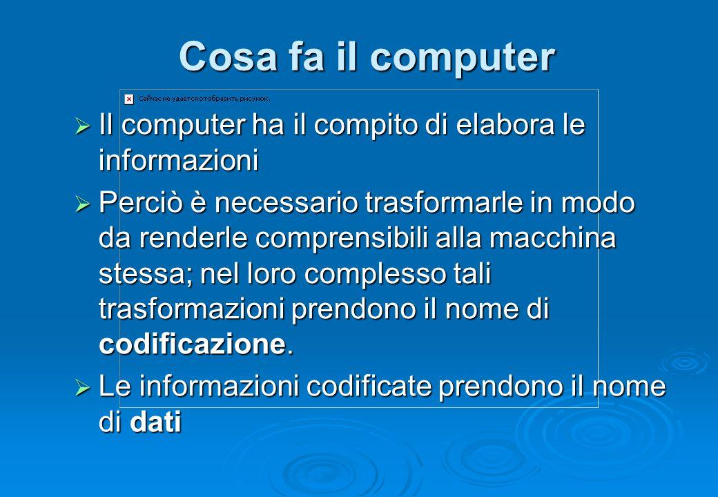 Cosa fa il computer Il computer ha il compito di elabora le informazioni.