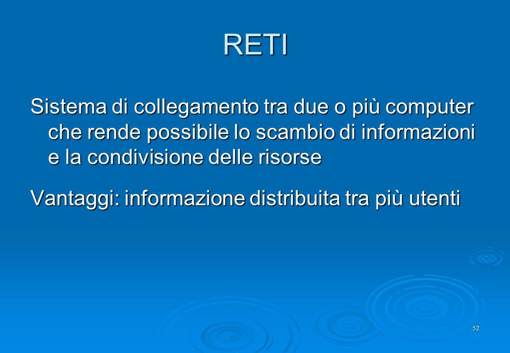 RETI Sistema di collegamento tra due o più computer che rende possibile lo scambio di informazioni e la condivisione delle risorse.