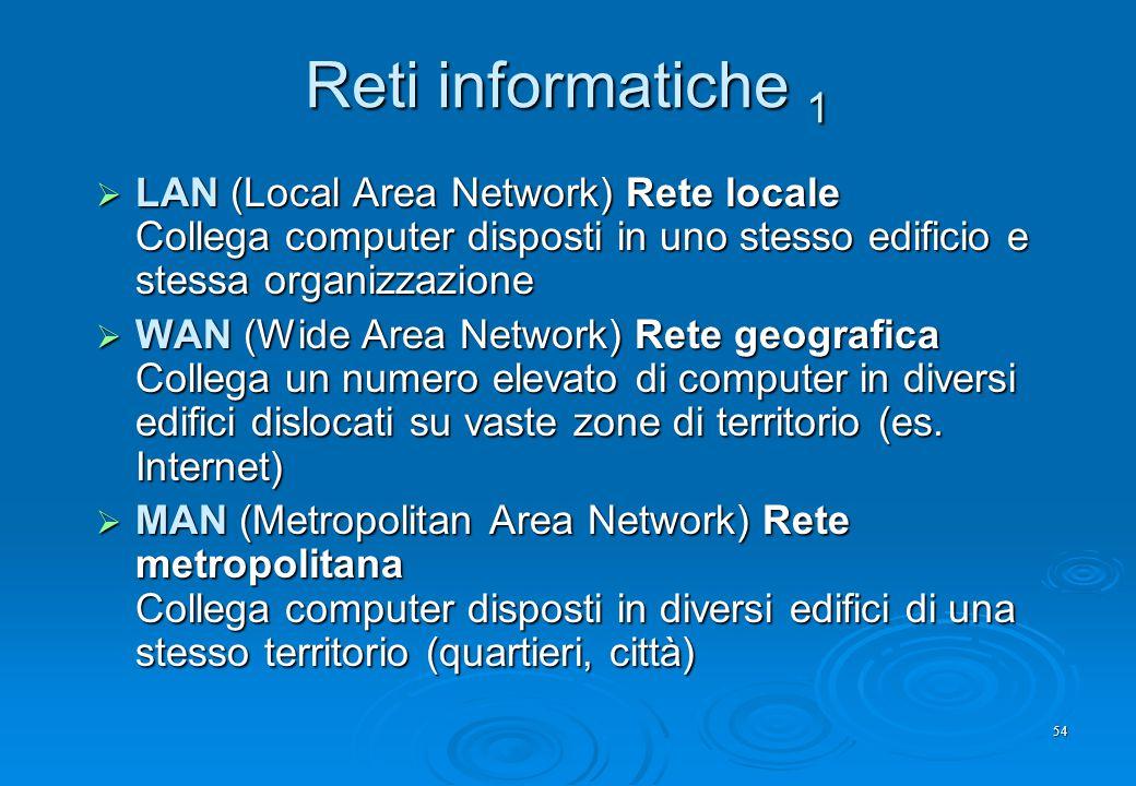 Reti informatiche 1 LAN (Local Area Network) Rete locale Collega computer disposti in uno stesso edificio e stessa organizzazione.