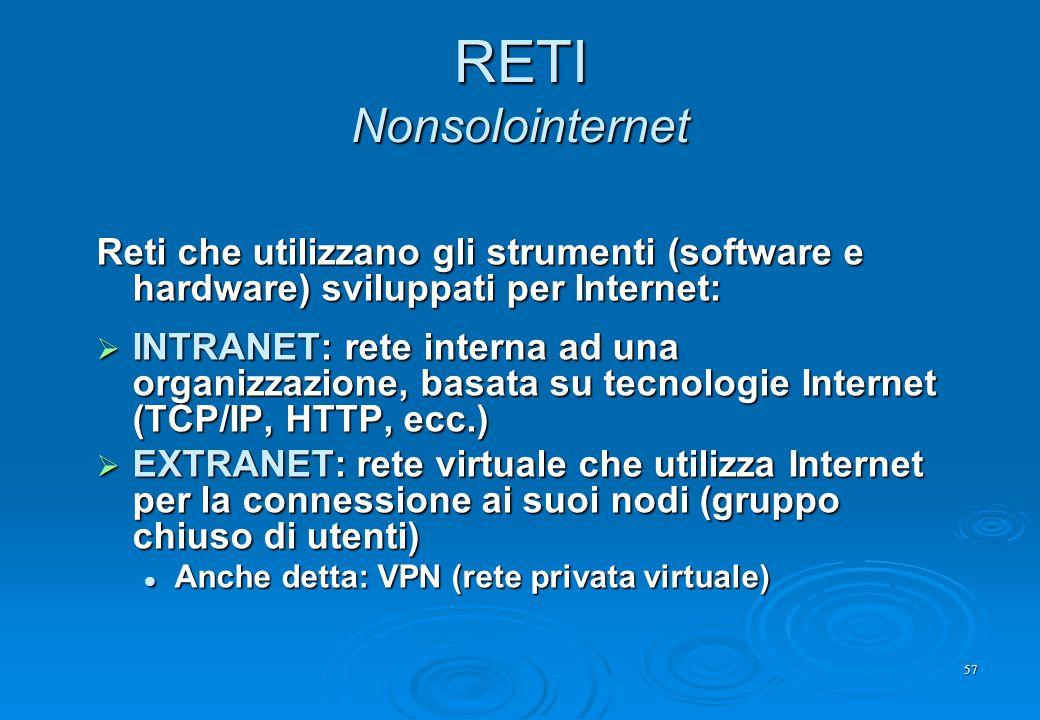 RETI Nonsolointernet Reti che utilizzano gli strumenti (software e hardware) sviluppati per Internet: