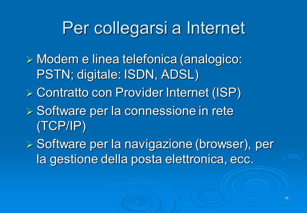 Per collegarsi a Internet