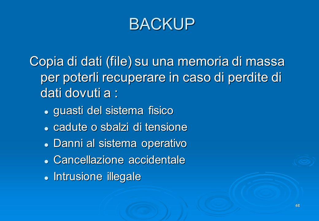BACKUP Copia di dati (file) su una memoria di massa per poterli recuperare in caso di perdite di dati dovuti a :