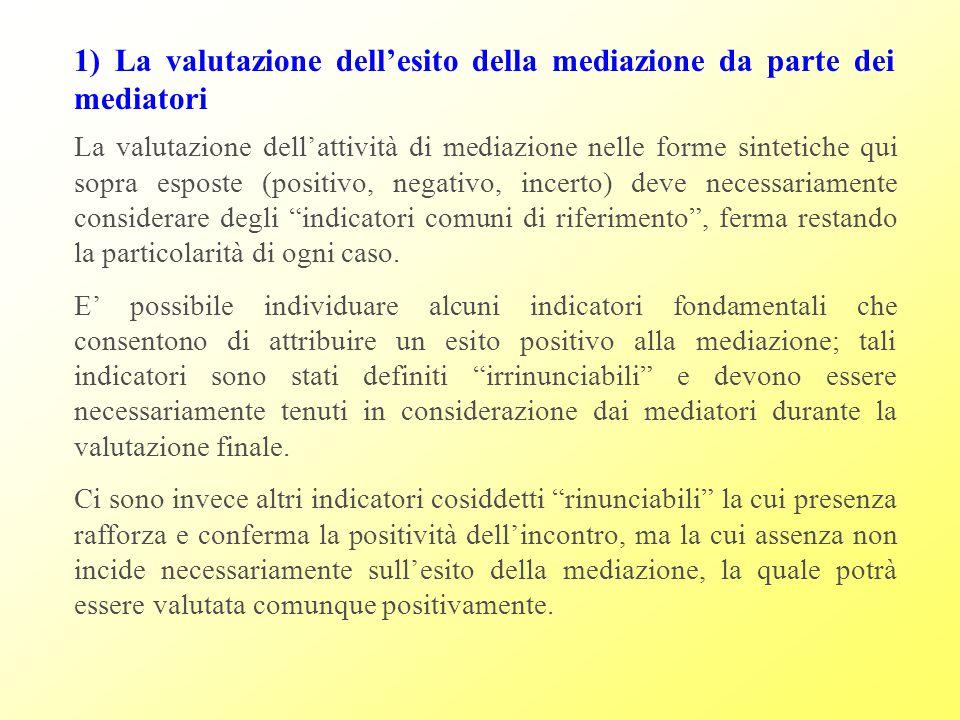 1) La valutazione dell'esito della mediazione da parte dei mediatori
