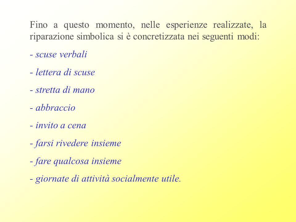 Fino a questo momento, nelle esperienze realizzate, la riparazione simbolica si è concretizzata nei seguenti modi: