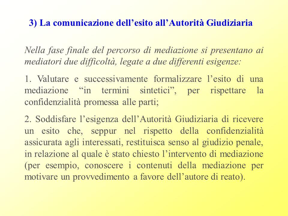 3) La comunicazione dell'esito all'Autorità Giudiziaria