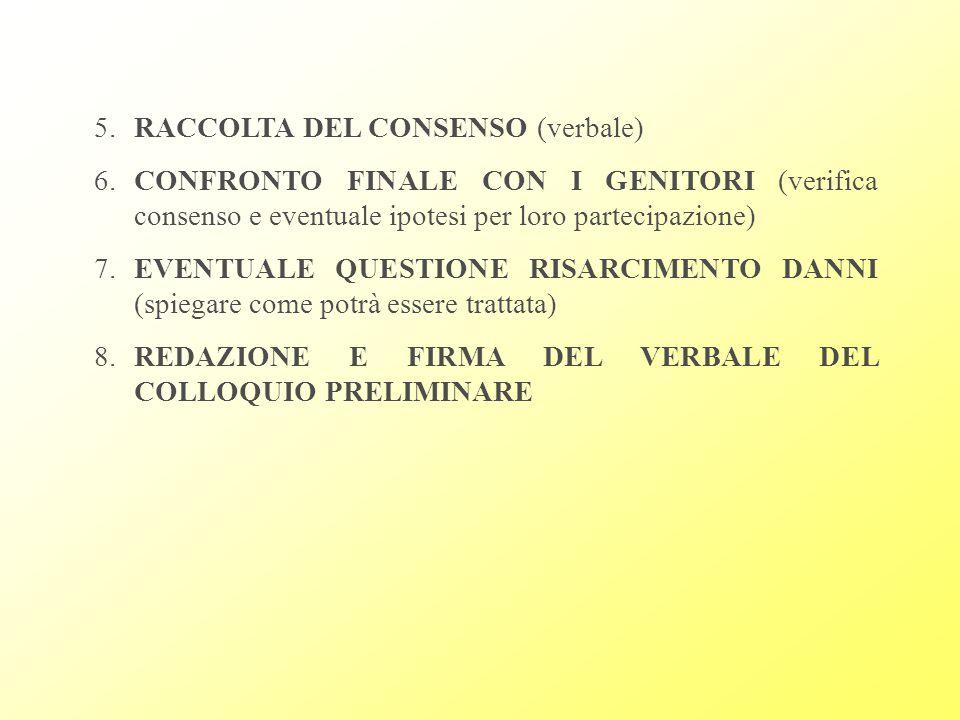 5. RACCOLTA DEL CONSENSO (verbale)