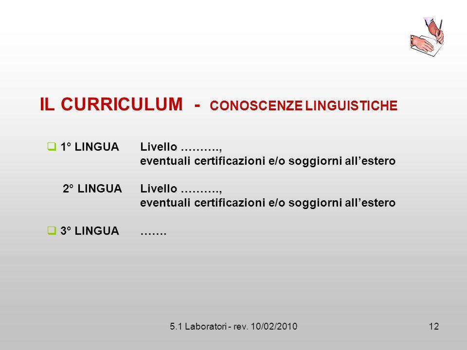 IL CURRICULUM - CONOSCENZE LINGUISTICHE