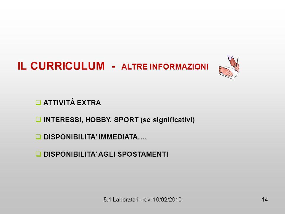 IL CURRICULUM - ALTRE INFORMAZIONI