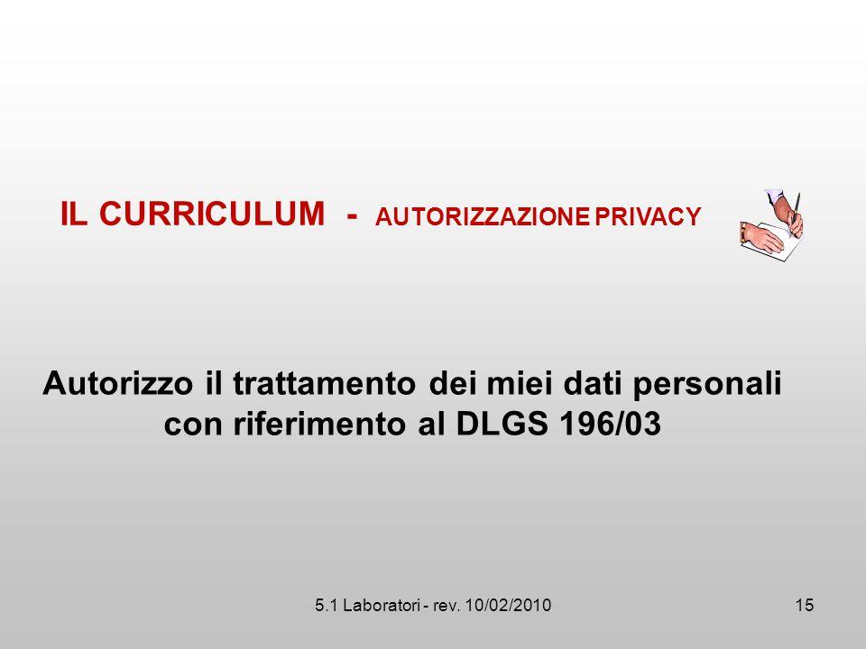 IL CURRICULUM - AUTORIZZAZIONE PRIVACY