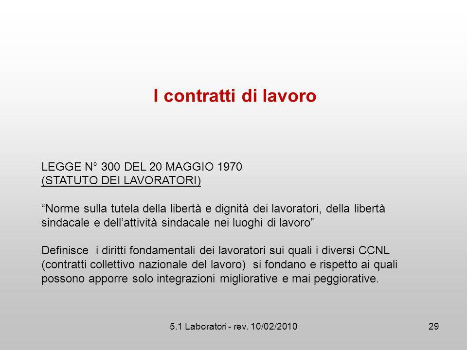 I contratti di lavoro LEGGE N° 300 DEL 20 MAGGIO 1970
