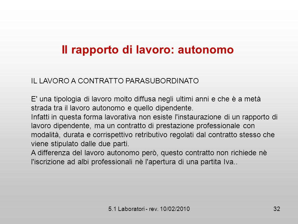 Il rapporto di lavoro: autonomo