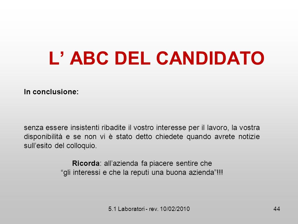 L' ABC DEL CANDIDATO In conclusione: