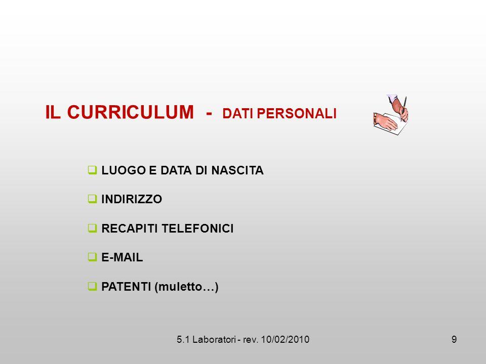 IL CURRICULUM - DATI PERSONALI